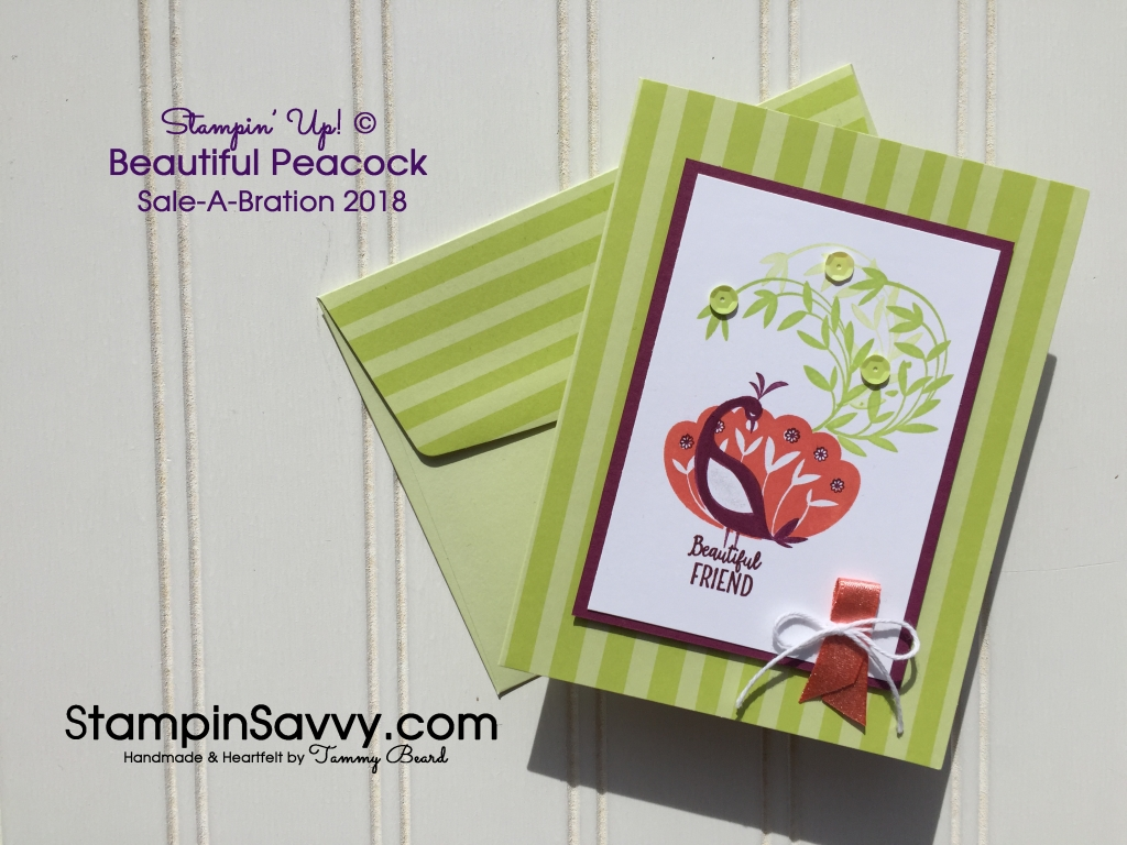 Beautiful Peacock stamps, Tutti-Frutti cards & shimmer ribbon