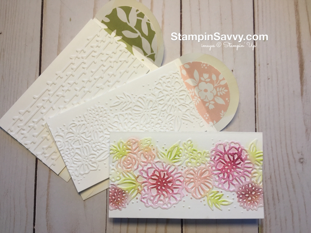 petal pair embossing folders with narrow note cards