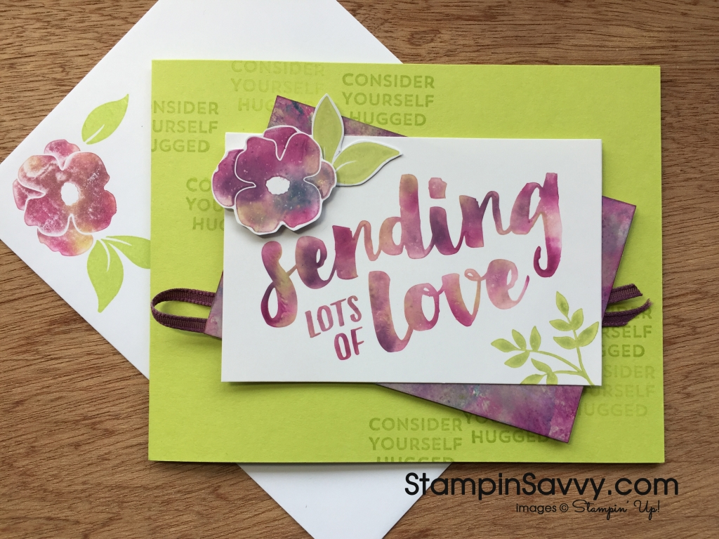 Stamping with baby wipes Lots of Love Hugged Card