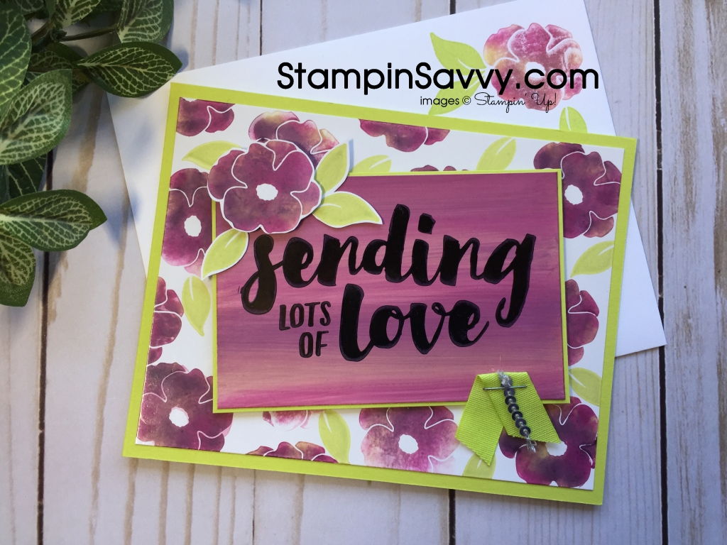 Stamping with baby wipes Lots of Love Card