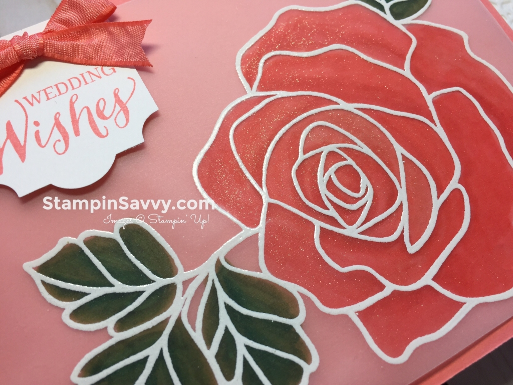 Rose Wonder Wedding Card close-up
