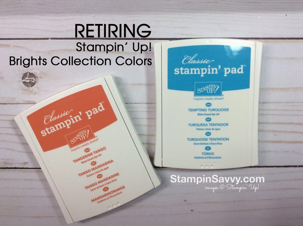 retiring Stampin Up colors from brights collection