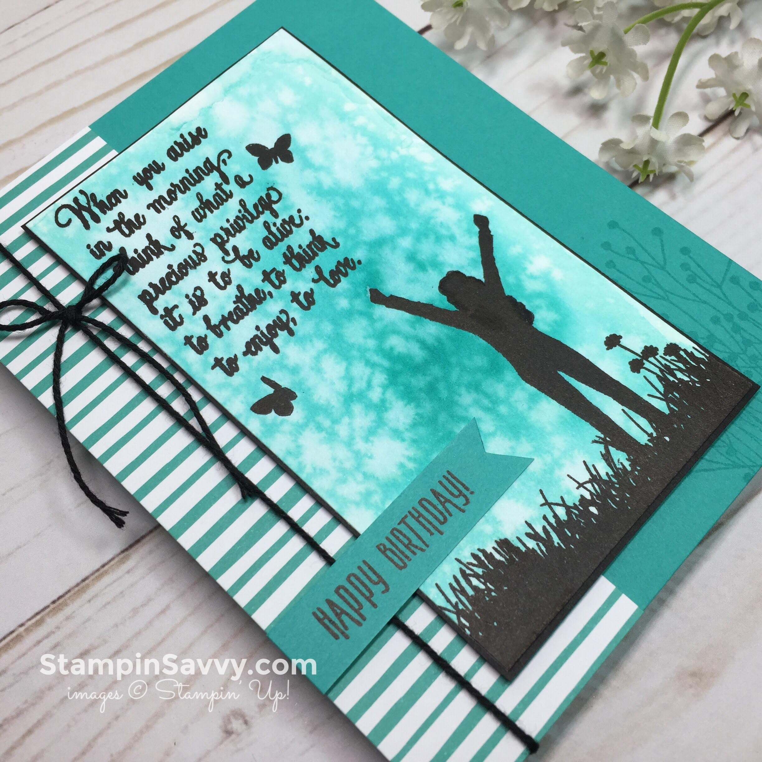 enjoy life birthday card, closeup, stampin up, stampinup, stampin savvy, stampinsavvy, tammy beard