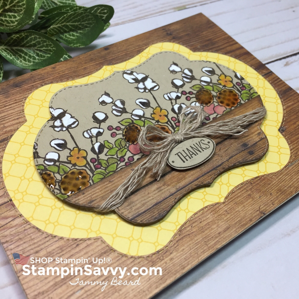 color your season, country home, wood textures dsp, thank you card, card ideas, stampin up, stampinup, stampin savvy, tammy beard