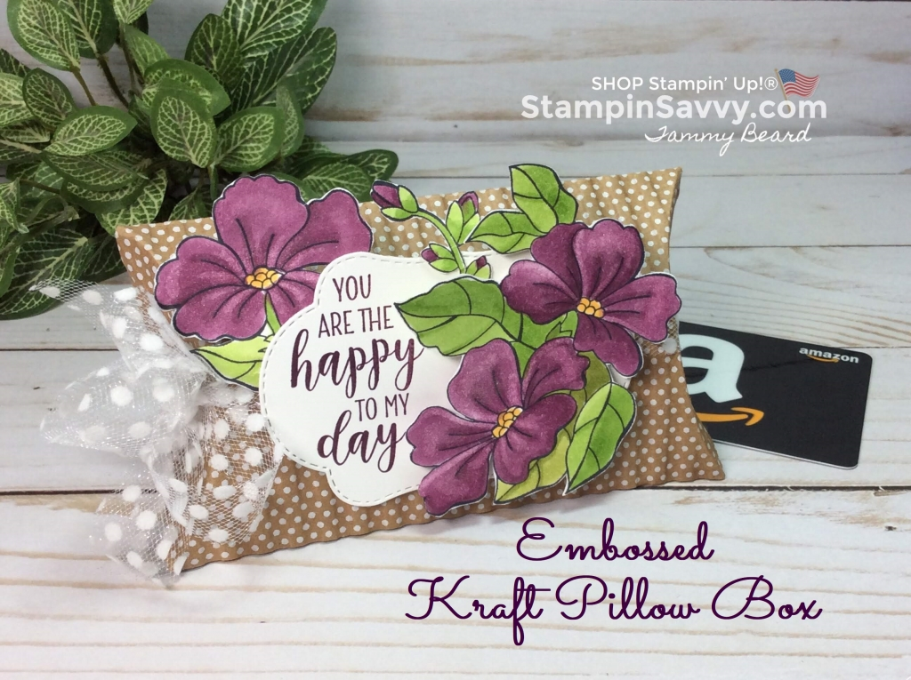 Gift Card Presentation: Embossed Kraft Pillow Box Stampin' Savvy Pillow Favor Box Ideas on pillow decorations, hat box favors, top note favors, book box favors, pillow candy, pillow boxes product, stampin up favors,