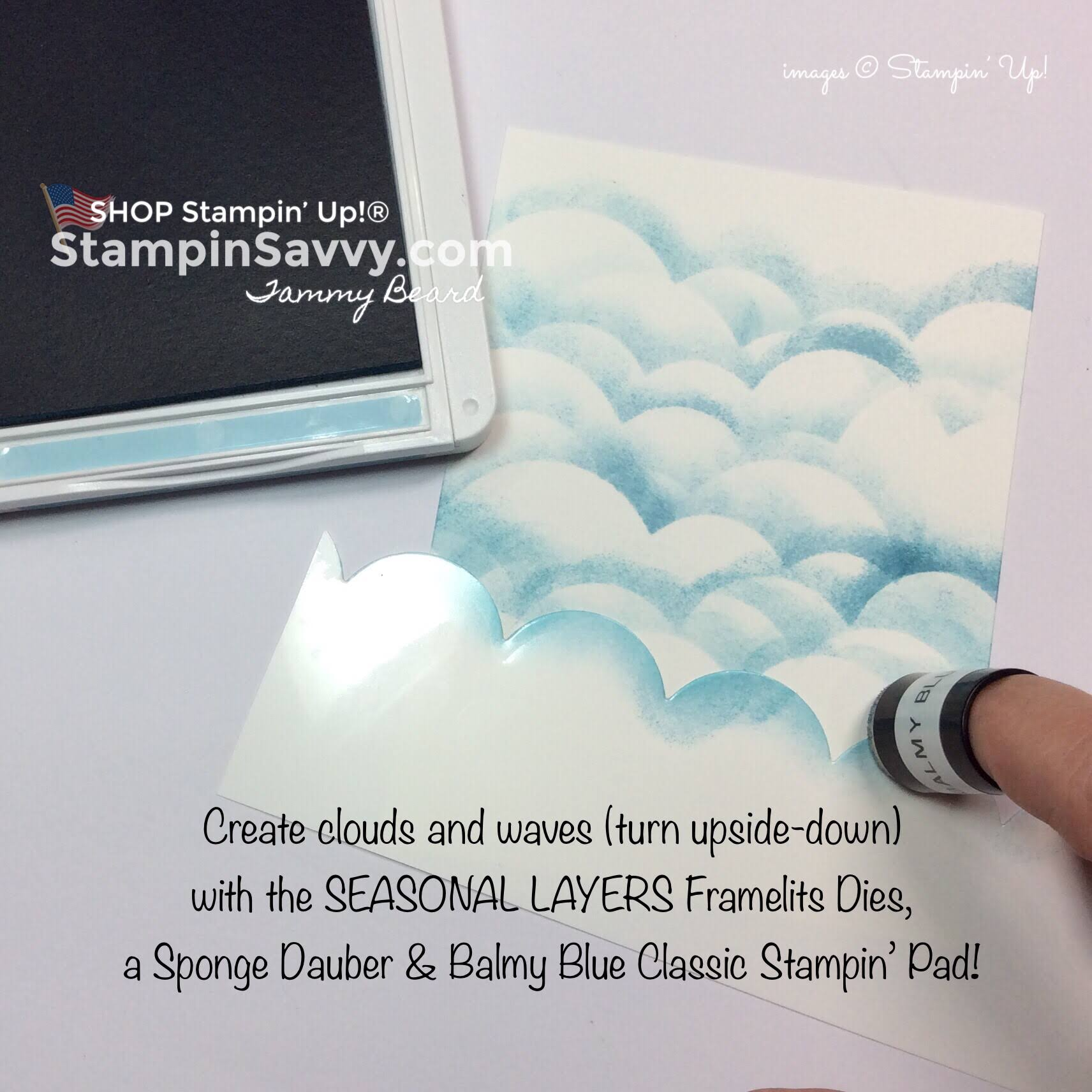 simple baby boy card, seasonal layers framelits dies, sponge daubers, stampin up, stampin savvy, stampinup, tammy beard