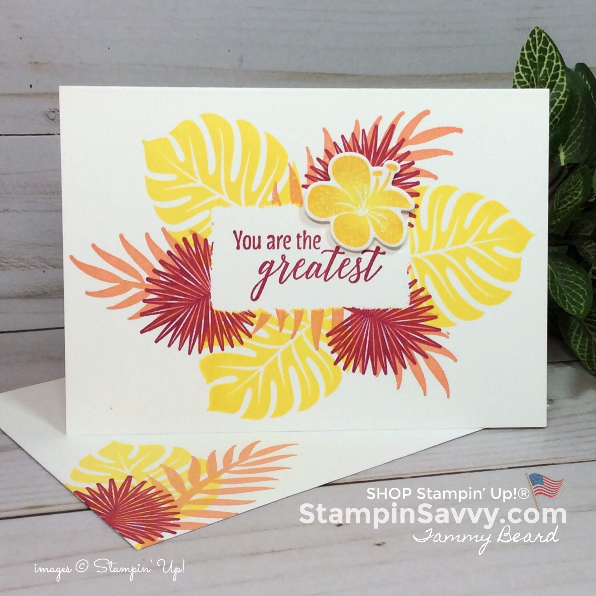 tropical chic stampin up cards, card ideas, masking techniques, in colors 2018, stampin up, stampin savvy, stampinup, tammy beard
