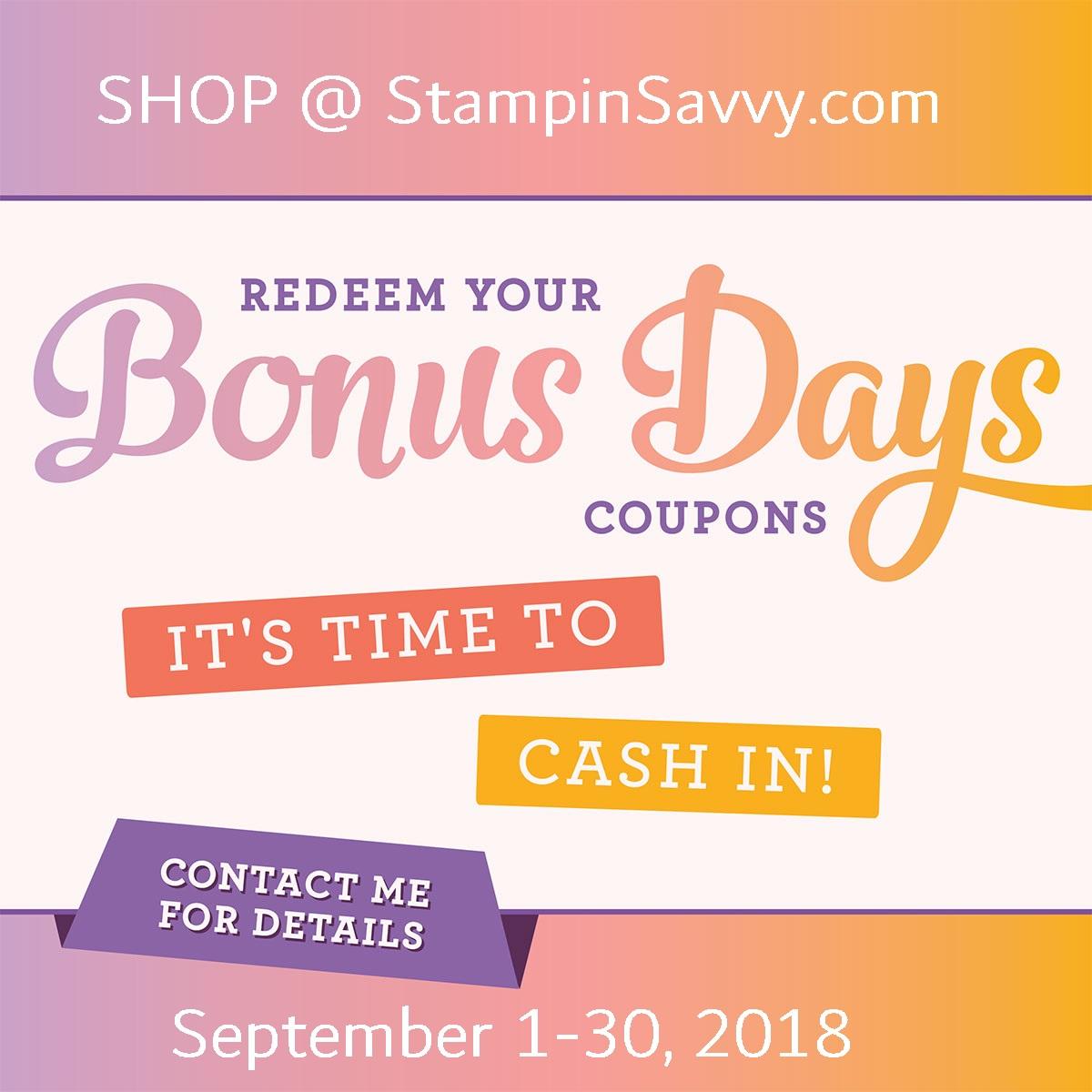 redeem bonus day coupons at stampinsavvy.com