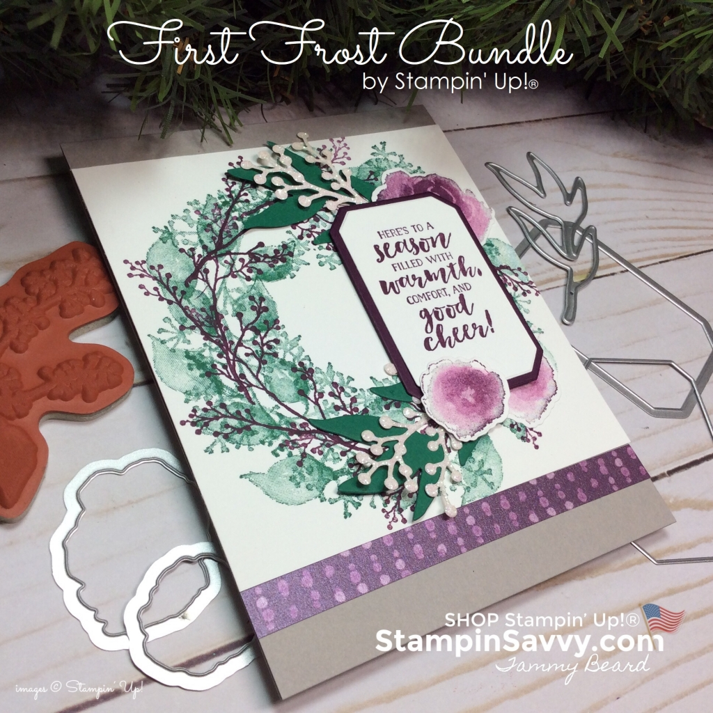 first frost bundle, holiday wreath card, frosted floral dsp, christmas card ideas, stampin up, stampinup, stampin savvy, tammy beard