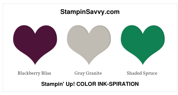 stampin up color inspiration, color ideas, blackberry bliss, gray granite, shaded spruce, stampinup, stampin savvy, tammy beard