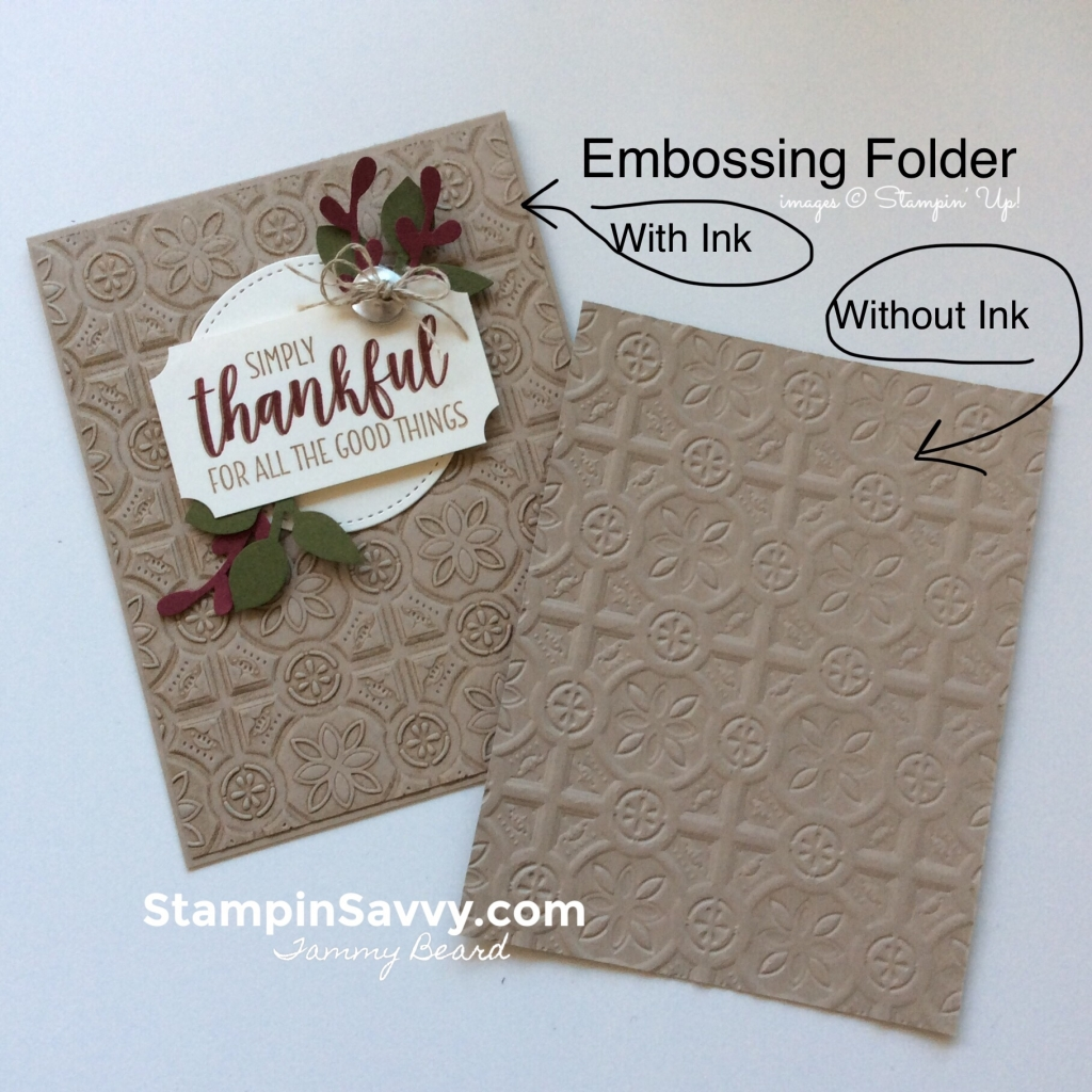 add texture to cards, ink vs no ink, card ideas, country home, stampin up, stampinup, stampin savvy, tammy beardte