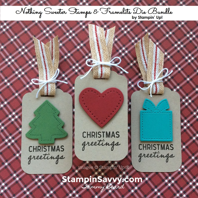 nothing sweeter bundle, christmas gift tags, stampin up, stampinup, stampin savvy, tammy beard