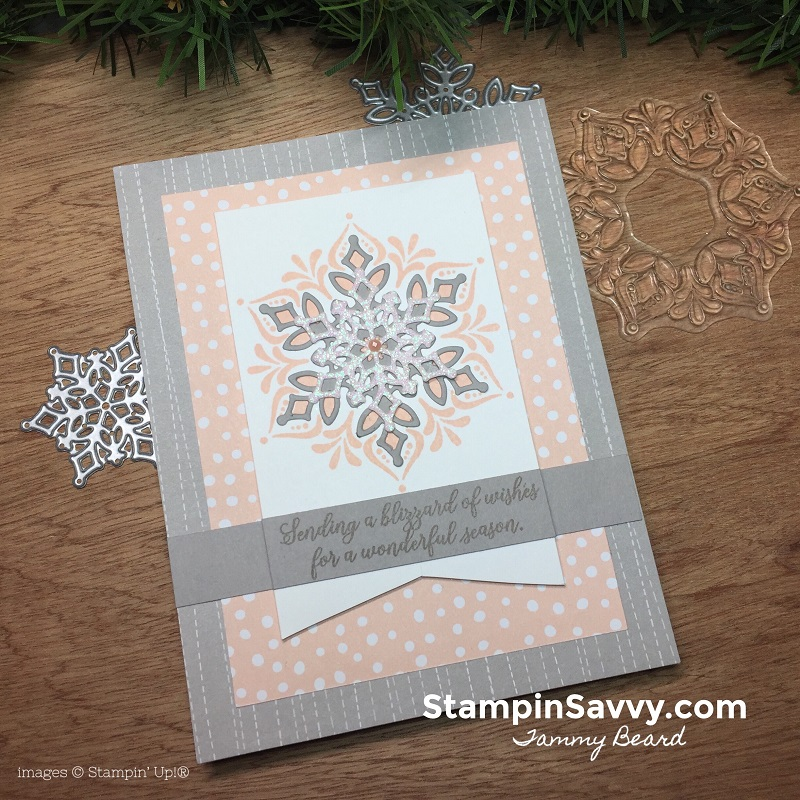 snowflake showcase cards, snow is glistening, happiness surrounds, snowfall thinlits dies, stampin up, christmas card ideas, stampinup, stampin savvy, tammy beard