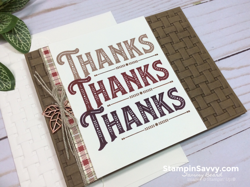 warm hearted stampin' up!, thanksgiving card ideas, basket weave embossing folder, stampin up, stampin savvy, tammy beard