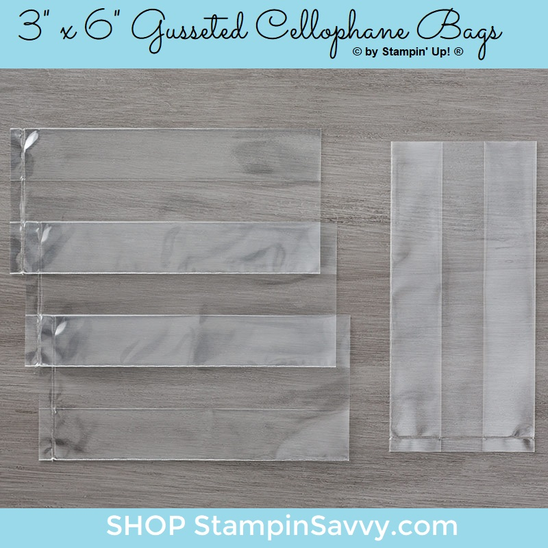141704, 3 x 6 gusseted cellophane bags, stampin up, stampin savvy, tammy beard