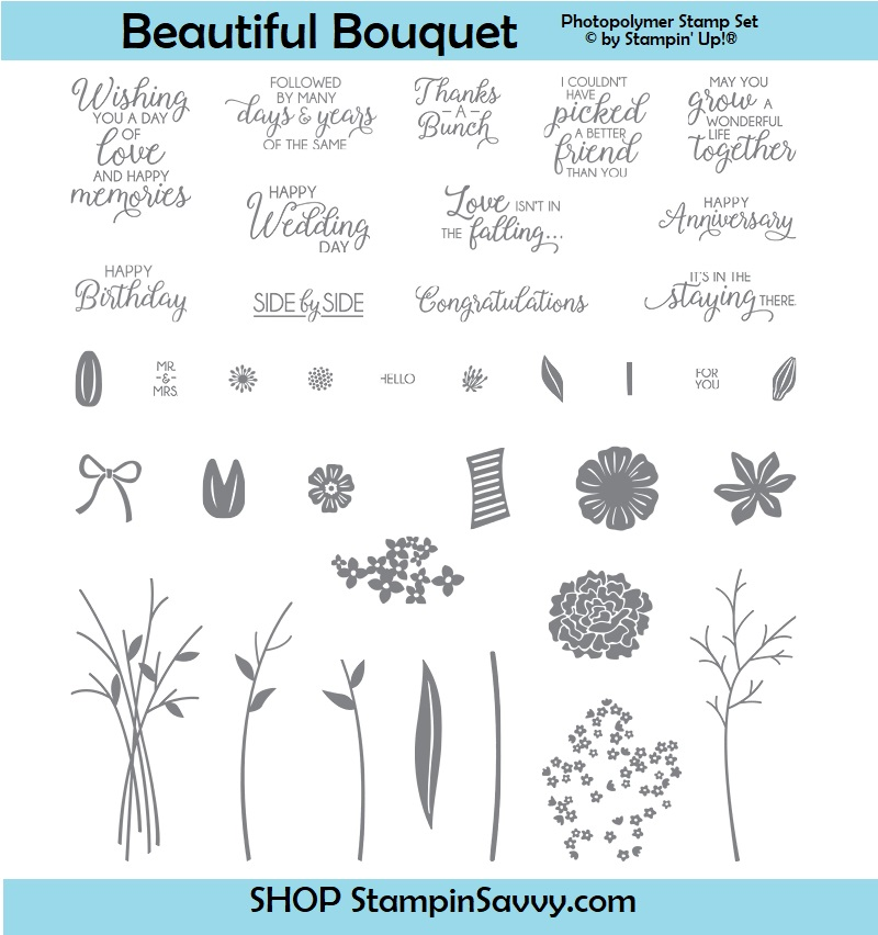 143666, beautiful bouquet photopolymer stamp set, stampin up, stampin savvy, tammy beard