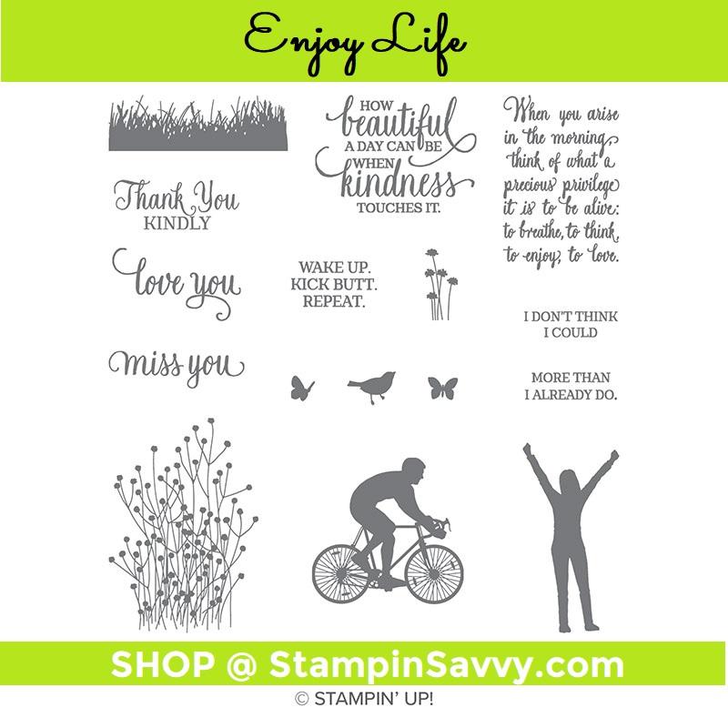 148190 enjoy life stamp set, stampin up, stampin savvy