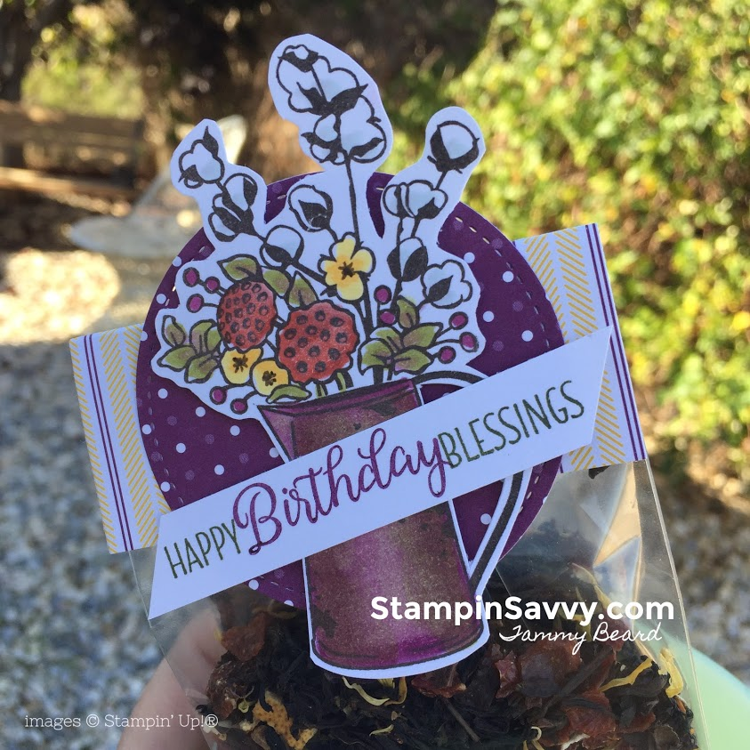 diy birthday gift for tea lovers, country lane dsp, country home, beautiful bouquet, stampin up, stampinup, stampin savvy, tammy beard