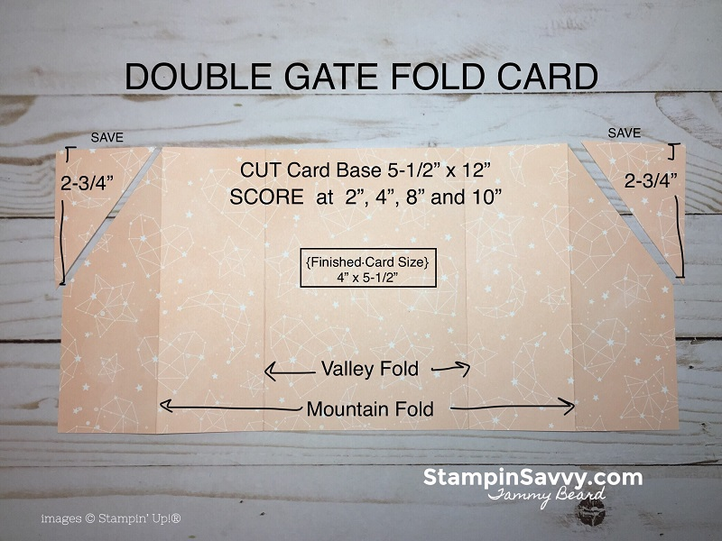 double gate fold card tutorial, twinkle, twinkle dsp, stampin savvy, stampin up, tammy beard