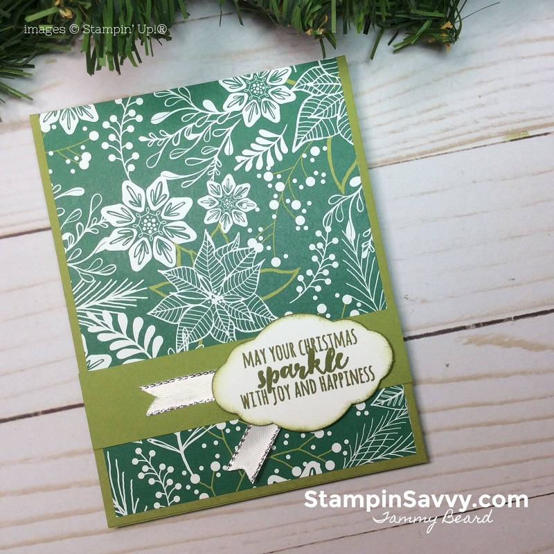 easy designer paper cards, merry mistletoe dsp, stampin up, stampin savvy, tammy beard 4
