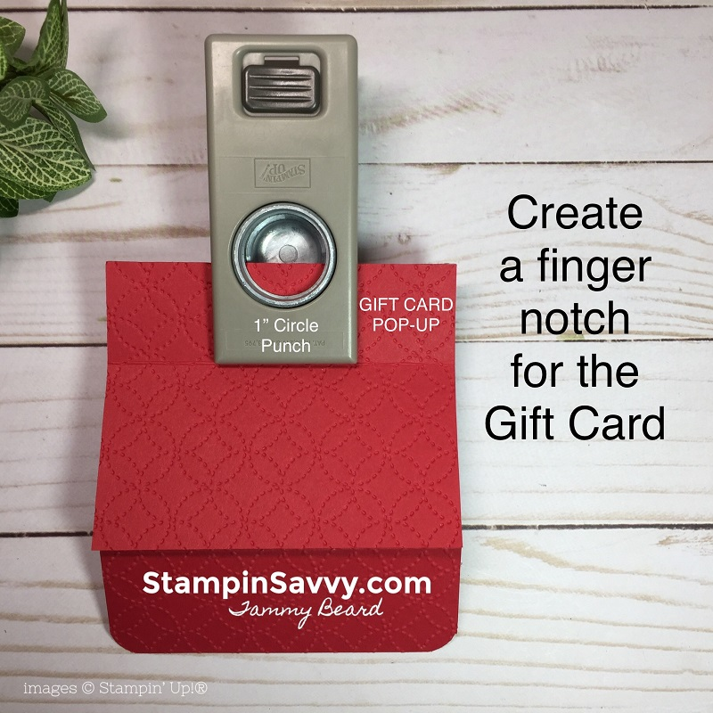pop up gift card holder, tutorial step 3, nothing sweeter, stampin up, stampin savvy, tammy beard
