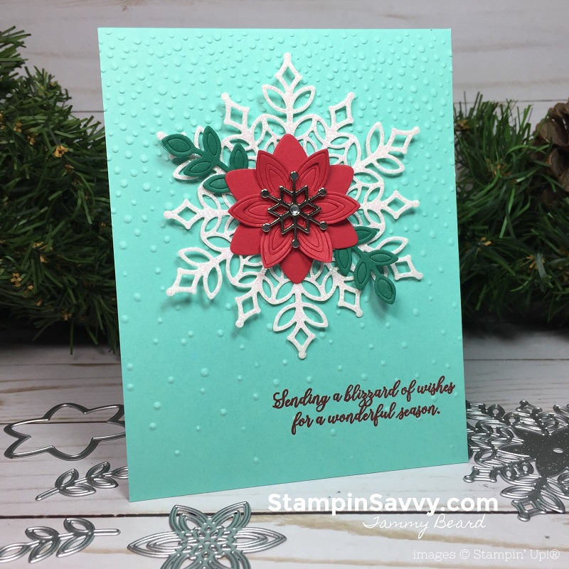 snowfall thinlits, snow is glistening, stampin up christmas card ideas, stampin savvy, tammy beard