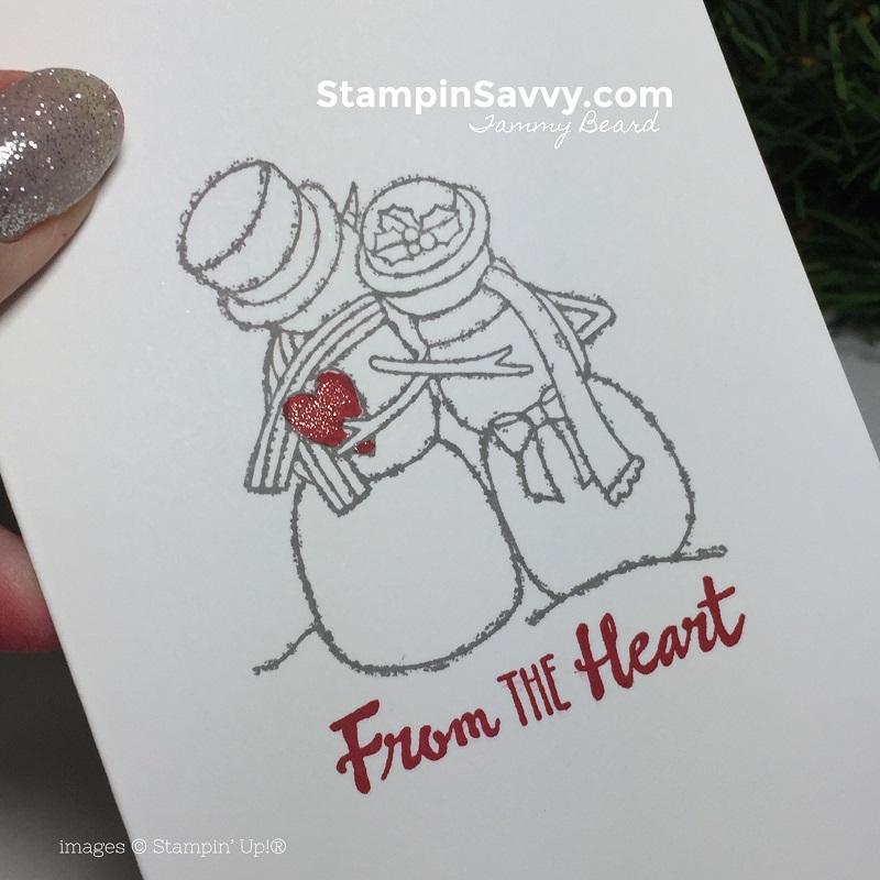 Quick DIY Thank You Cards, petal palette, spirited snowmen, stampin up, stampinup, stampin savvy, tammy beard