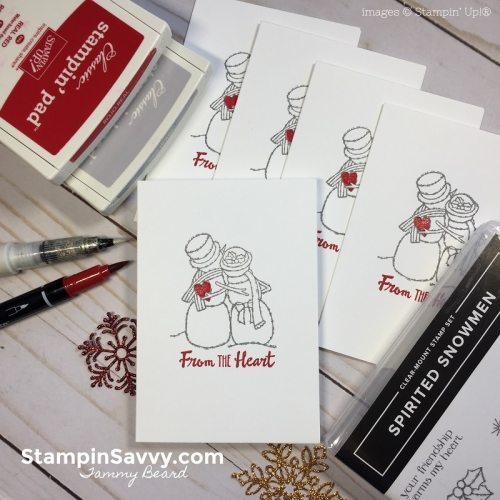 Quick DIY Thank You Cards, spirited snowmen, petal palette, stampin savvy, stampin up, stampinup, tammy beard