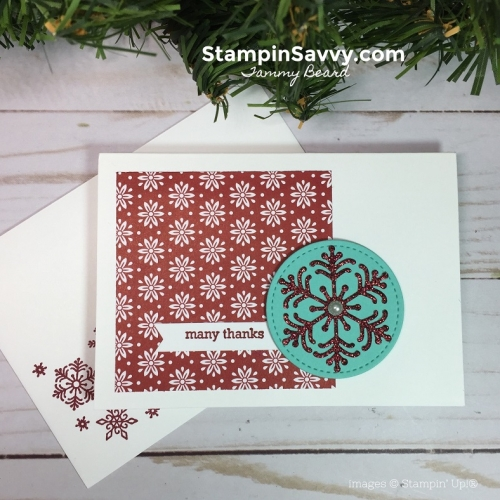 Simple Handmade Thank You Card Designs, dashing along dsp, beautiful blizzard, stampin up, stampin savvy, tammy beard