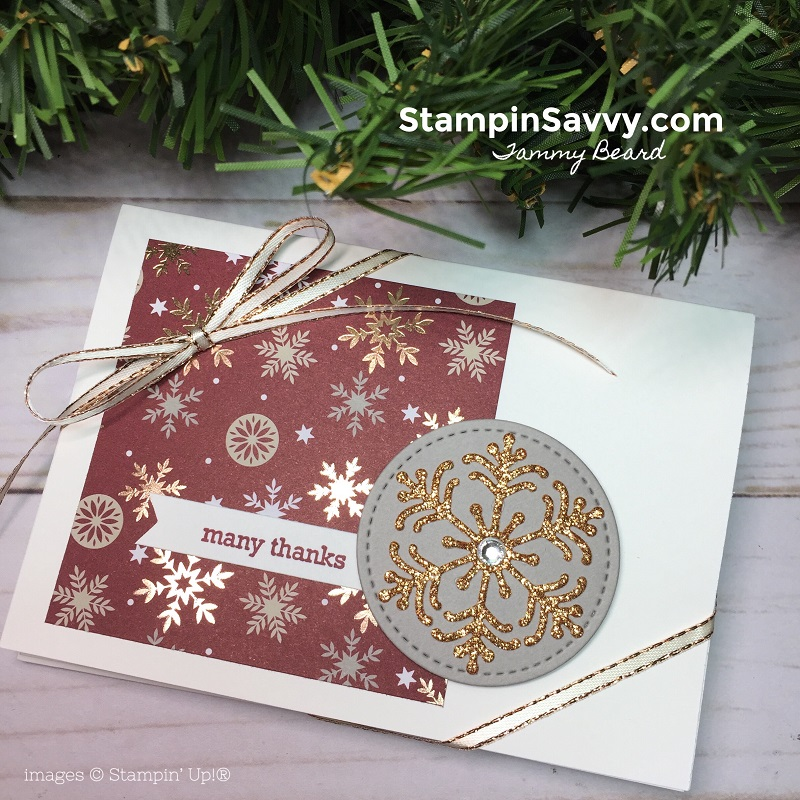 Simple Handmade Thank You Card Designs, joyous noel dsp, beautiful blizzard, stampin up, stampin savvy, tammy beard