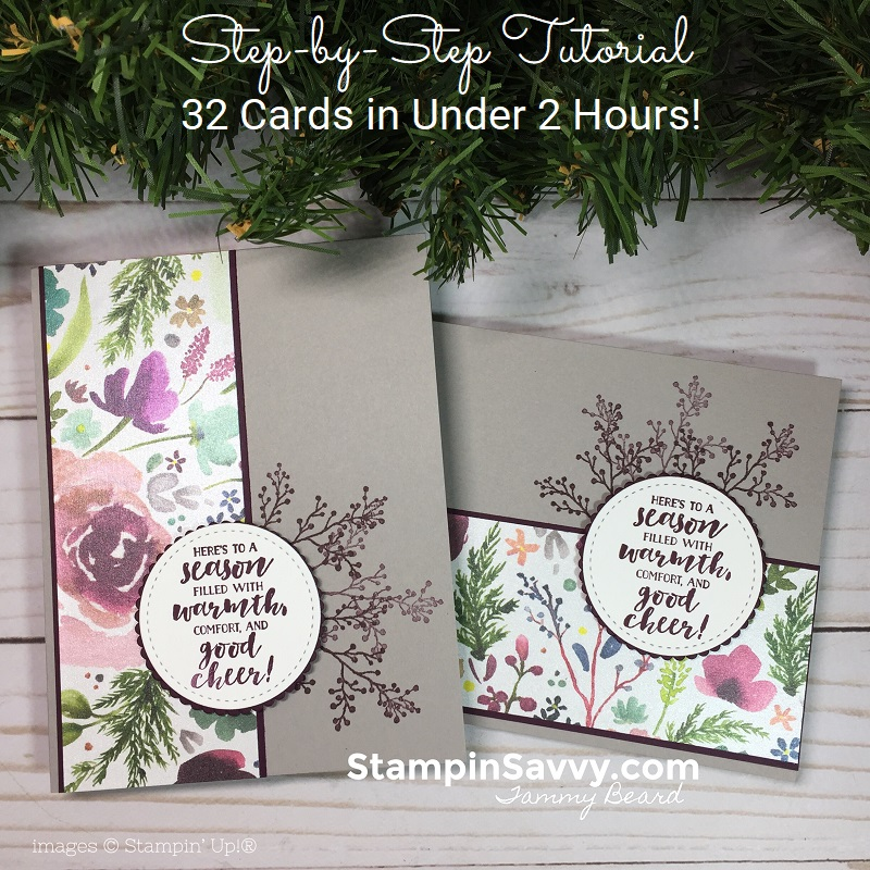 first frost, frosted floral dsp, quick christmas cards tutorial, stampin up, stampin savvy, tammy beard