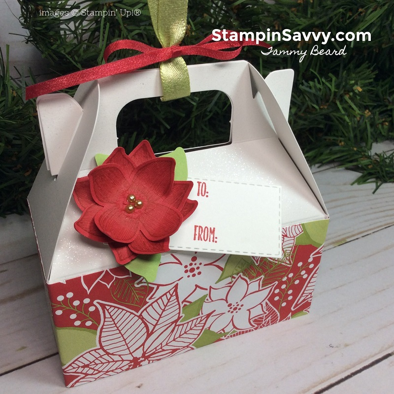 mini gable box, pop of petals, under the mistletoe, stitched rectangle framelits, stampin up, stampin savvy, tammy beard 2