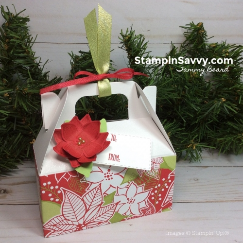 mini gable box, pop of petals, under the mistletoe, stitched rectangle framelits, stampin up, stampin savvy, tammy beard