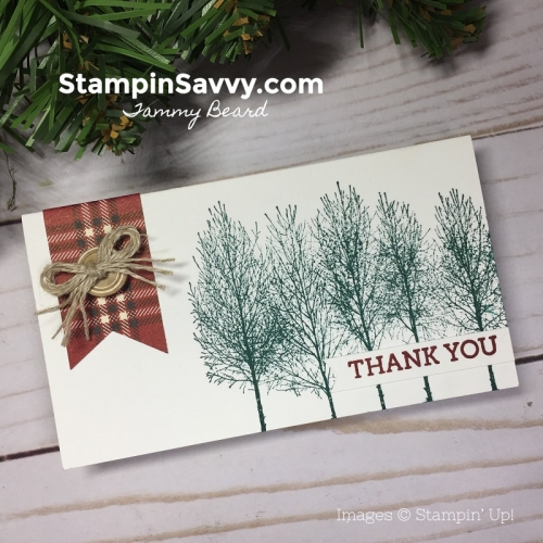 quick masculine thank you card, winter woods, stampin up, stampin savvy, tammy beard