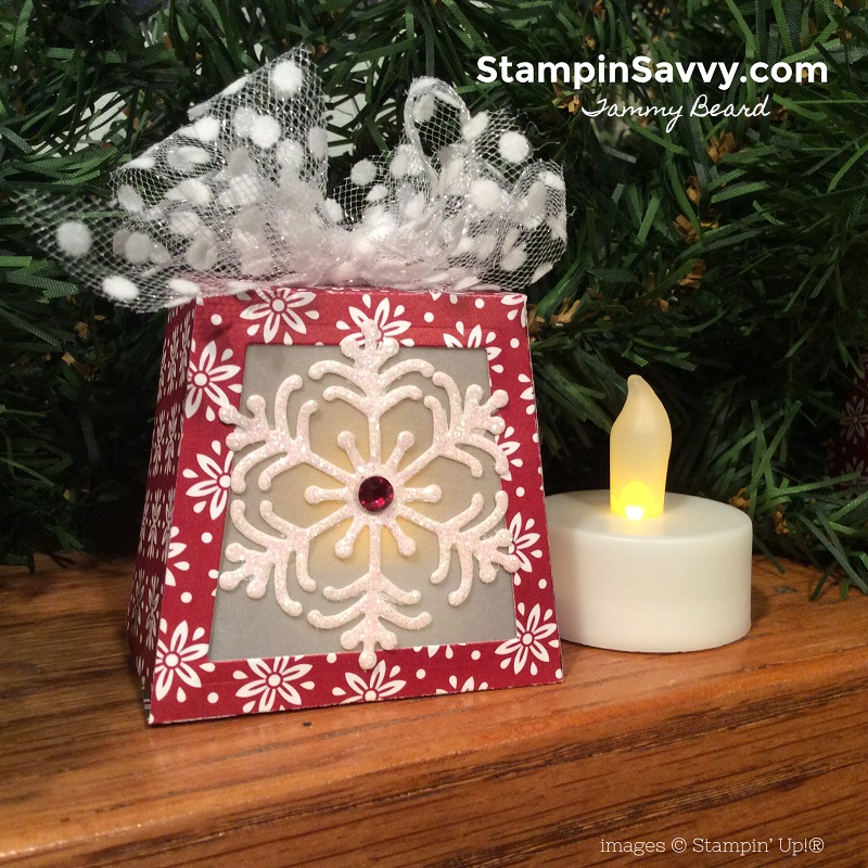 stampin up takeout thinlits dies, diy holiday lanterns, dashing along dsp, polka dot tulle ribbon, blizzard thinlits dies, stampin savvy, tammy beard
