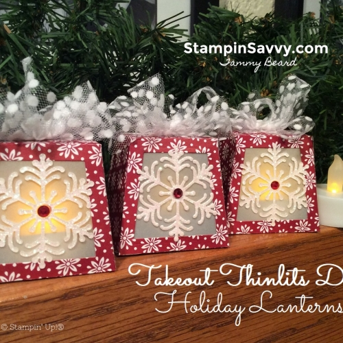 stampin up takeout thinlits dies, diy holiday lanterns, holiday decor, dashing along dsp, polka dot tulle ribbon, blizzard thinlits dies, stampin savvy, tammy beard, 2