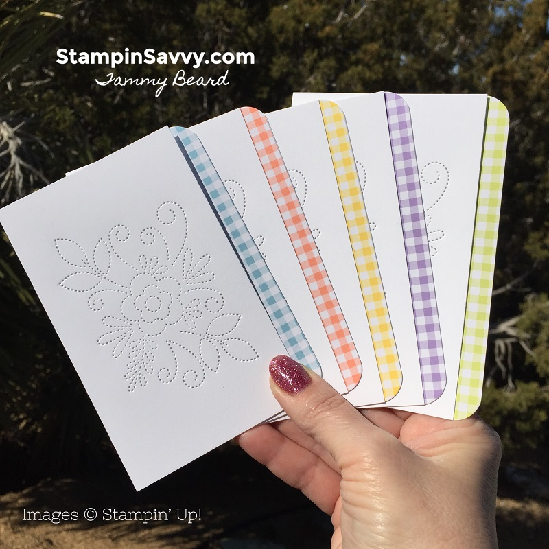 how-to-make-simple-note-cards-needlepoint-elements-gingham-gala-stampin-savvy-stampin-up-stampinup-tammy-beard