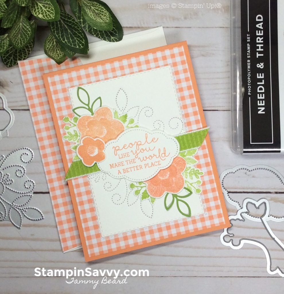 needle and thread bundle, stampin up, gingham gala, stampin savvy, tammy beard