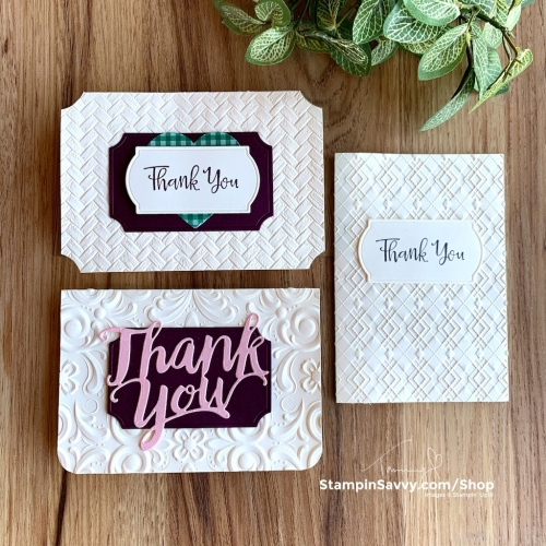 EMBOSSED-THANK-YOU-CARDS-ABSOLUTELY-ARGYLE-PARISIAN-FLOURISH-COASTAL-WEAVE-STAMPIN-UP-TAMMY-BEARD-STAMPINSAVVY.COM