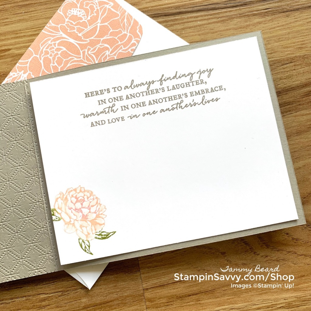 PRIZED PEONY INSIDE OF CARD